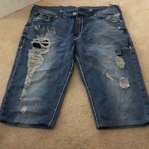 True Religion distressed Jean shorts